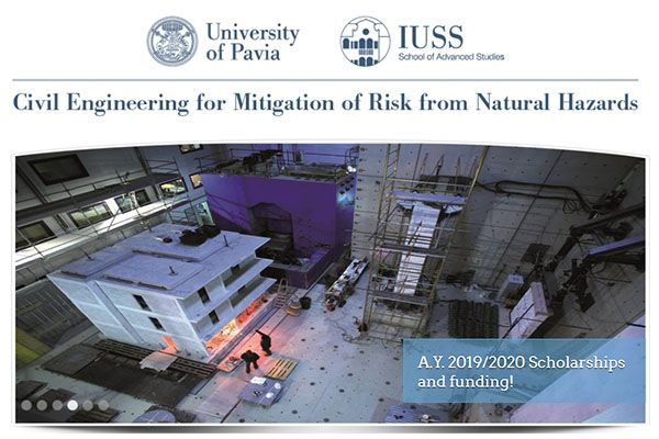 Bando di borse di studio per l'iscrizione alla Laurea Magistrale 'Civil Engineering for Mitigation of Risks from Natural Hazards'