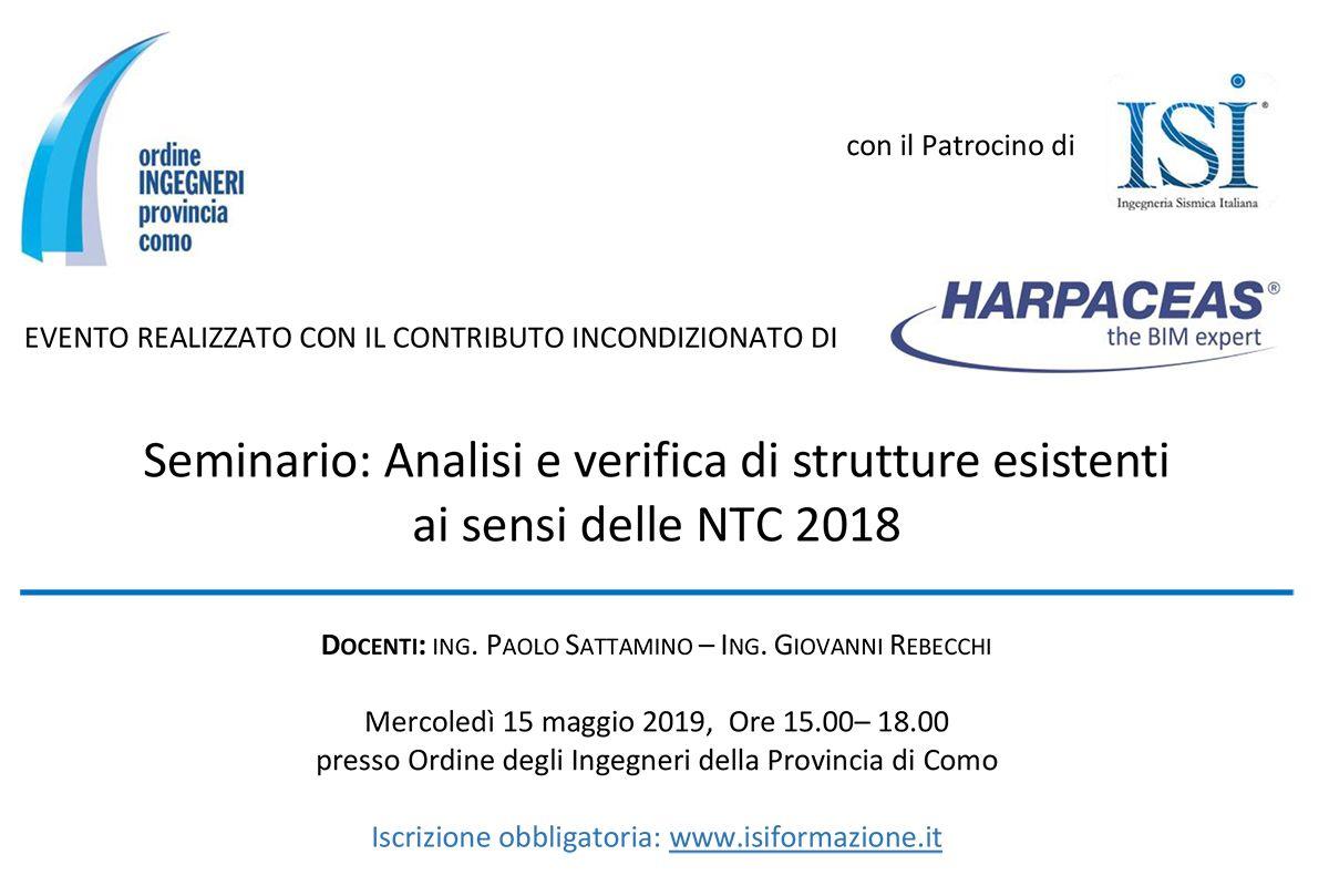Seminario: Analisi e verifica di strutture esistenti ai sensi delle NTC 2018