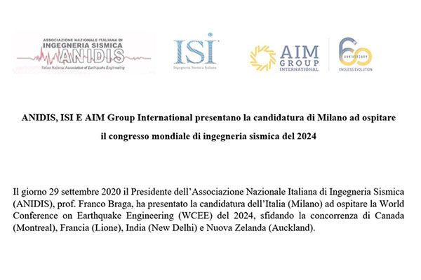 ANIDIS, ISI E AIM Group International presents the Milano candidacy to host the 18th World Conference on Earthquake Engineering 2024