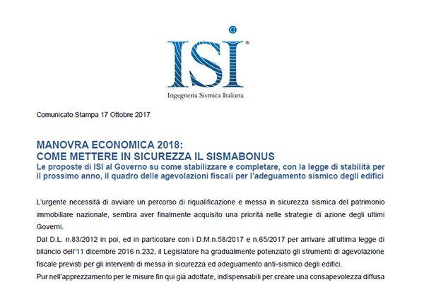 Comunicato Stampa ISI. MANOVRA ECONOMICA 2018: COME METTERE IN SICUREZZA IL SISMABONUS
