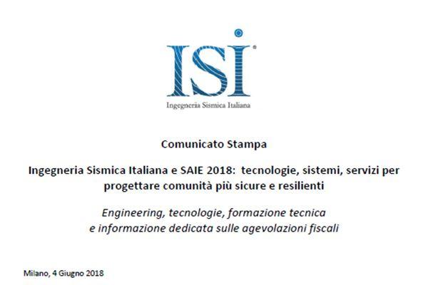 Comunicato Stampa: Ingegneria Sismica Italiana e SAIE 2018: tecnologie, sistemi, servizi per progettare comunità più sicure e resilienti