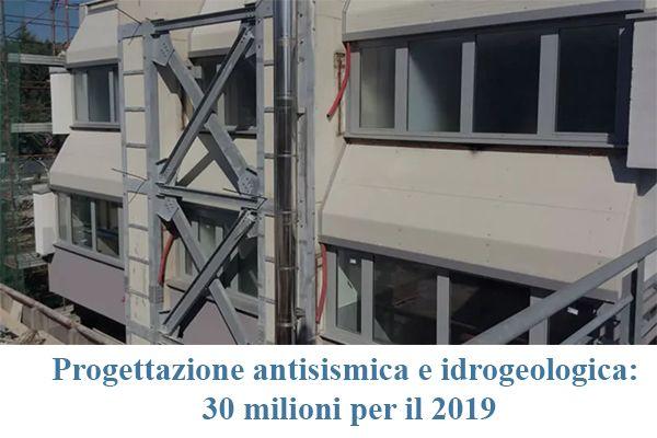 Progettazione antisismica e idrogeologica: 30 milioni per il 2019