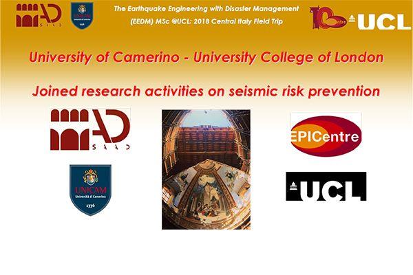University of Camerino - University College of London - Educazione e ricerca per la prevenzione sismica