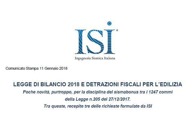Comunicato Stampa - LEGGE DI BILANCIO 2018 E DETRAZIONI FISCALI PER L'EDILIZIA