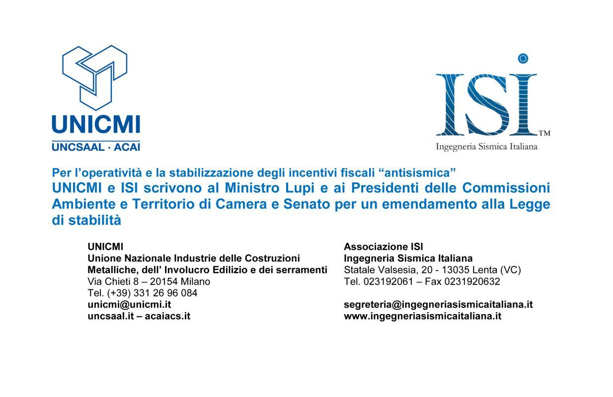 UNICMI e ISI scrivono al Ministro Lupi e ai Presidenti delle Commissioni Ambiente e Territorio di Camera e Senato per un emendamento alla Legge di stabilità