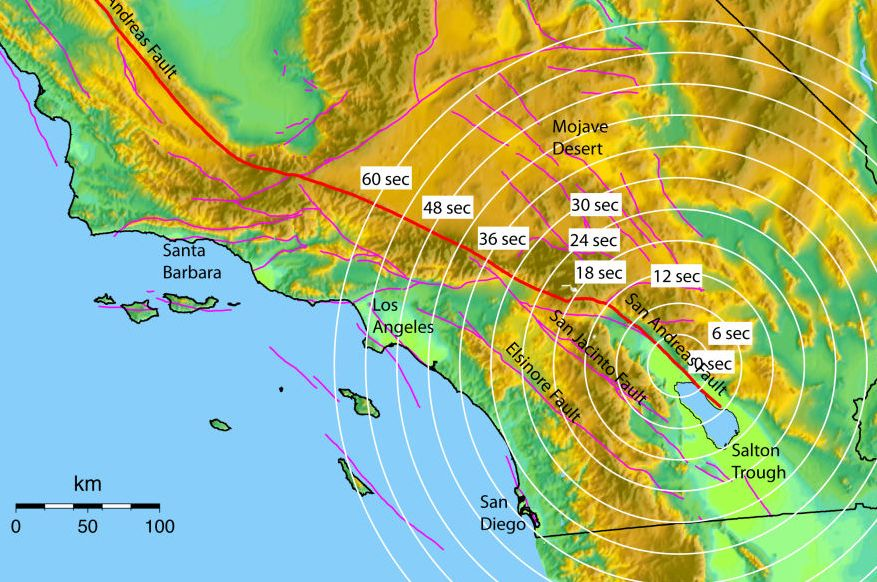 Earthquake Early Warning (EEW) in California - innovativo sistema di 'allarme'