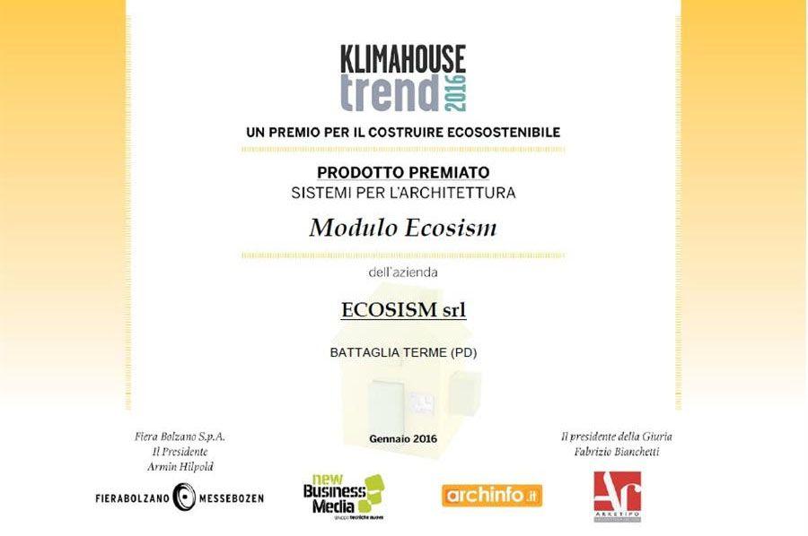 ECOSISM, Il modulo a getto singolo premiato al klimahouse 2016 come miglior prodotto nella categoria 'sistemi per l'architettura'