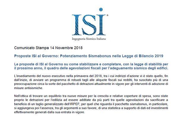 Comunicato Stampa 14 Novembre 2018 -  Proposte ISI al Governo: Potenziamento Sismabonus nella Legge di Bilancio 2019
