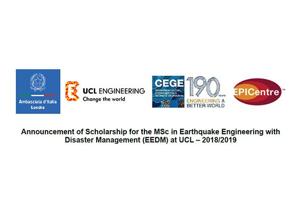 Announcement of Scholarship for the MSc in Earthquake Engineering with Disaster Management (EEDM) at UCL – 2018/2019