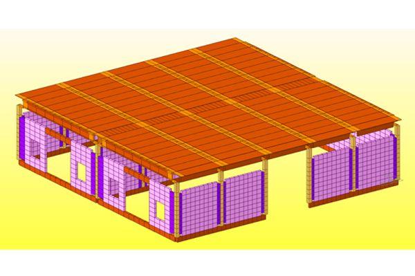 Modellazione di un capannone in elementi prefabbricati con tamponamenti in laterizio