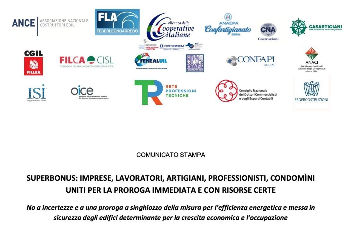 COMUNICATO STAMPA - SUPERBONUS: IMPRESE, LAVORATORI, ARTIGIANI, PROFESSIONISTI, CONDOMÌNI UNITI PER LA PROROGA IMMEDIATA E CON RISORSE CERTE