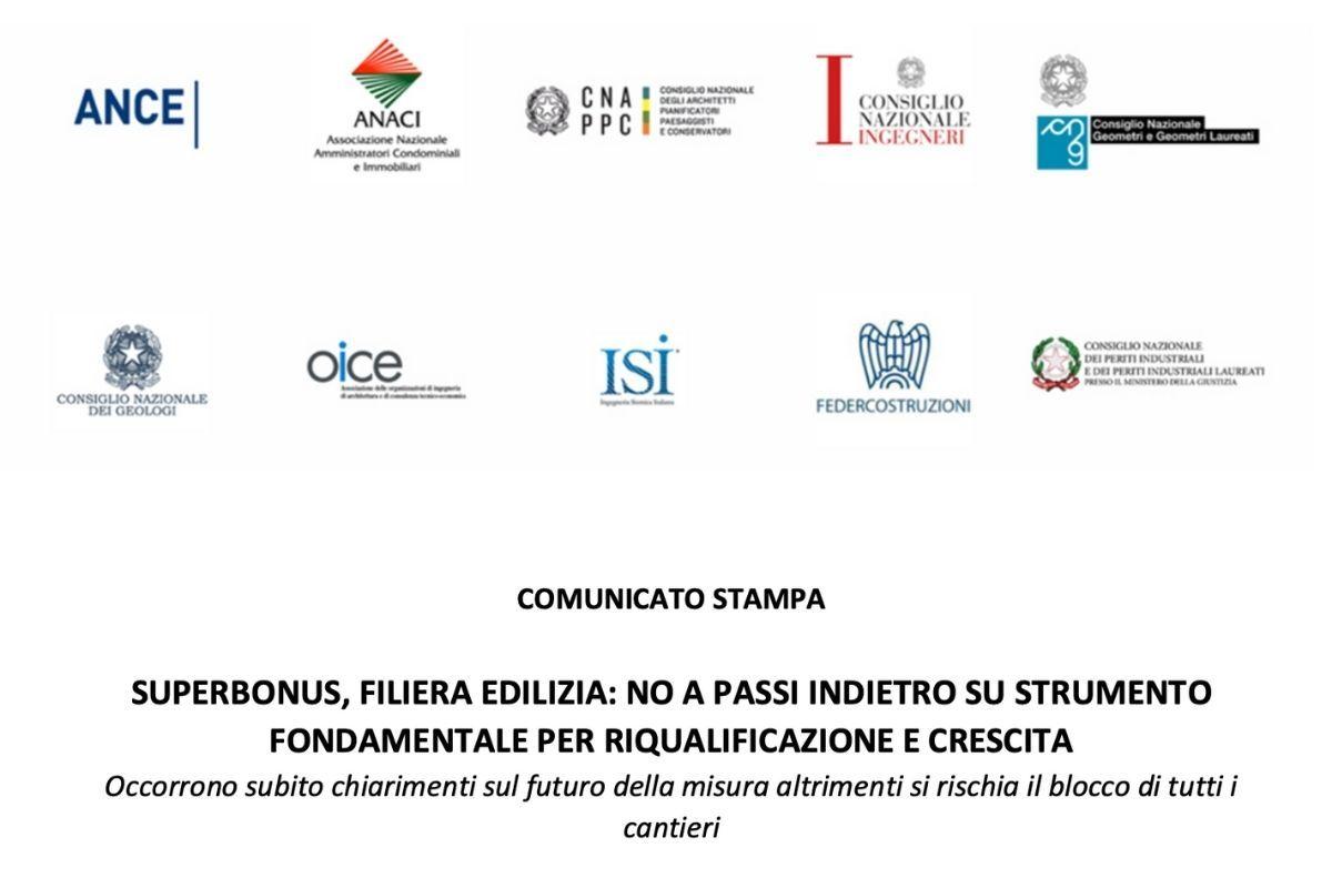 COMUNICATO STAMPA - SUPERBONUS, FILIERA EDILIZIA: NO A PASSI INDIETRO SU STRUMENTO FONDAMENTALE PER RIQUALIFICAZIONE E CRESCITA
