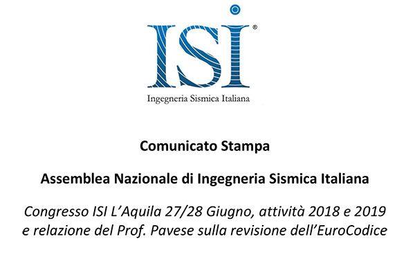 Comunicato Stampa: Assemblea Nazionale di Ingegneria Sismica Italiana