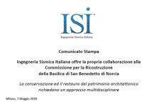 Comunicato Stampa: Ingegneria Sismica Italiana offre la propria collaborazione alla Commissione per la Ricostruzione della Basilica di San Benedetto di Norcia